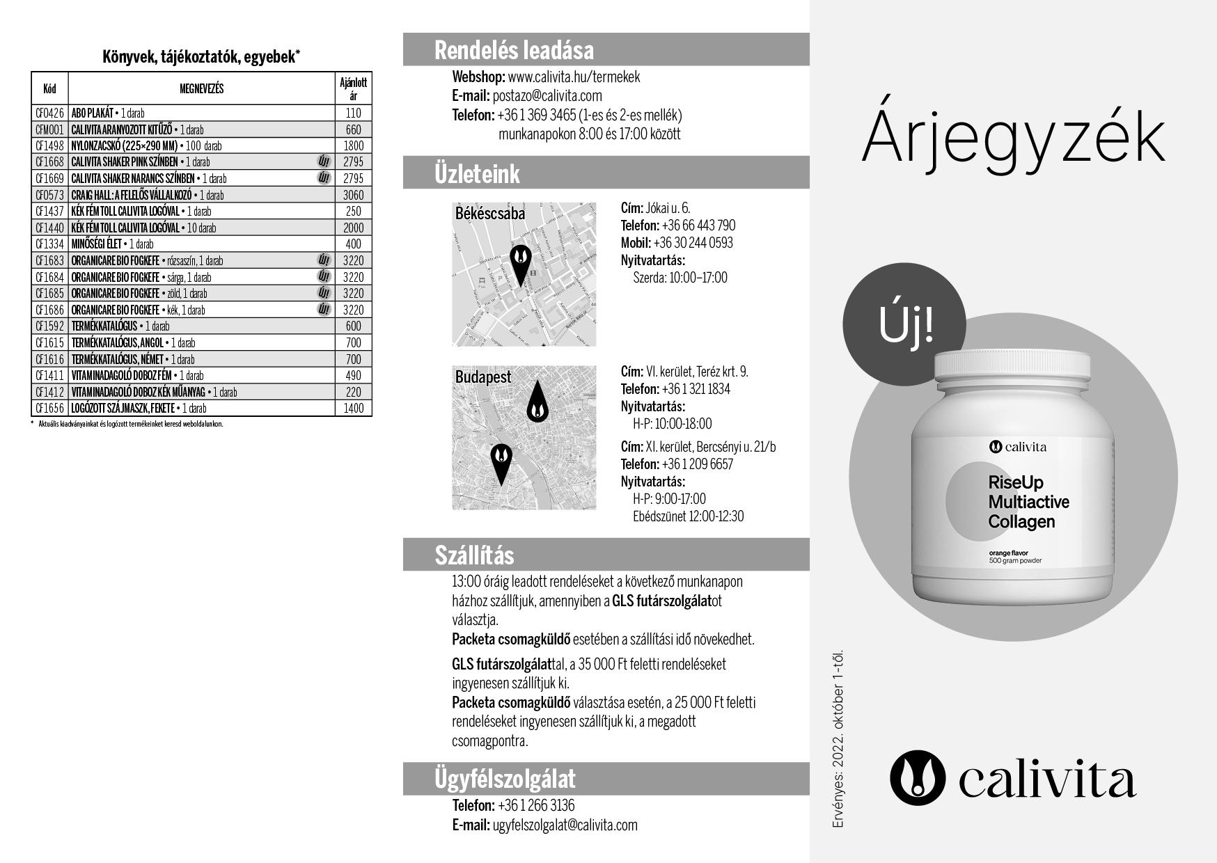 CaliVita Kiskereskedelmi Árlista 2. oldal